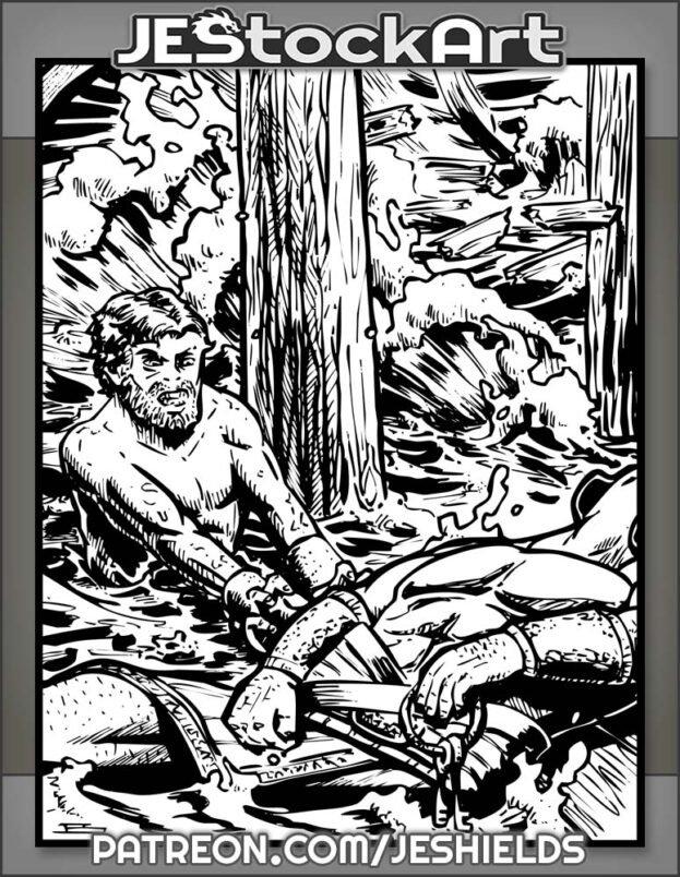 Roman Galley Slave Reaches For Keys On Fallen Guard by Jeshields