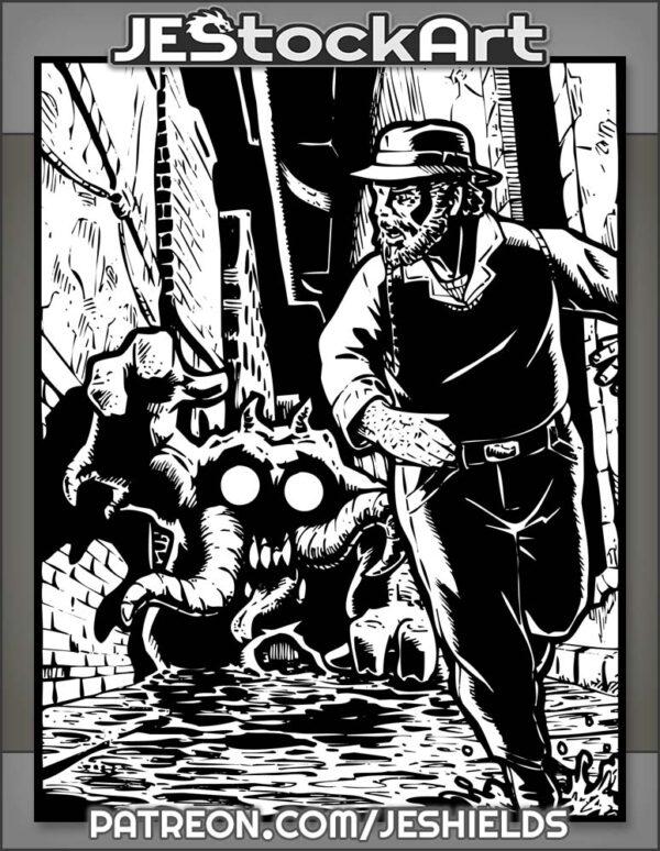 Gentleman In Hat Running From Horror In Alley by Jeshields