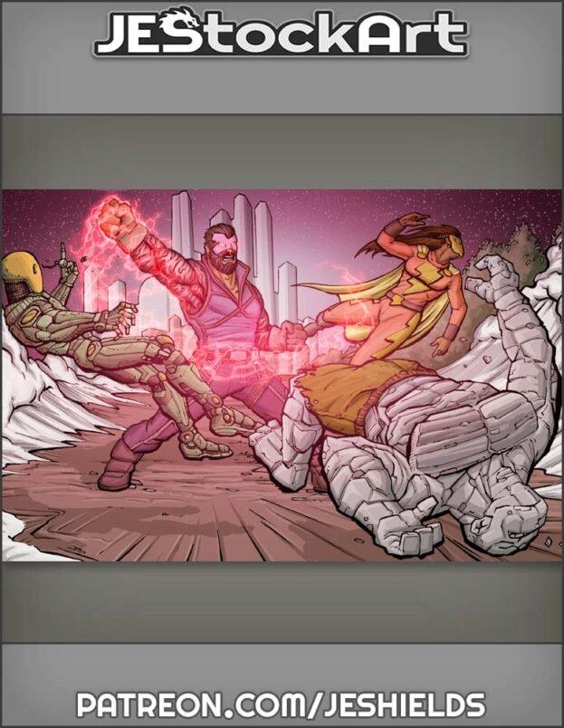 Villain Versus Hero Group Fight by Jeshields