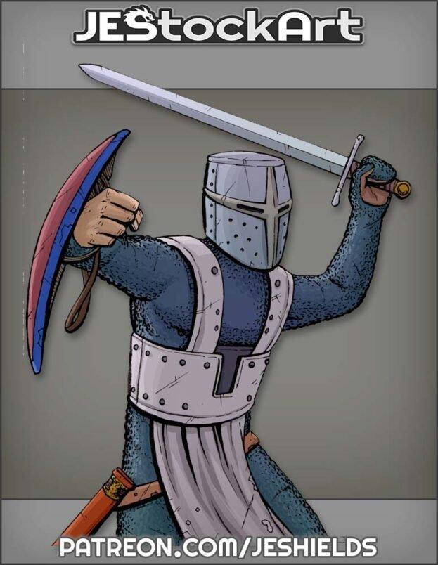 Knight in Bucket Helmet with Buckler Swings a Sword by Jeshields