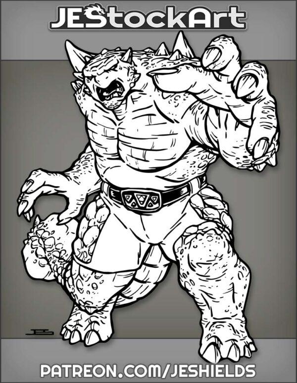 Humanoid Ankylosaurus Wrestler In Shorts And Belt by Jeshields