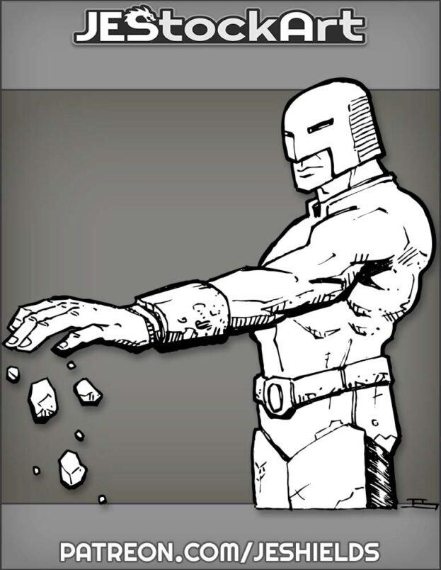 Helmed Super with Armband Levitates Rock by Jeshields