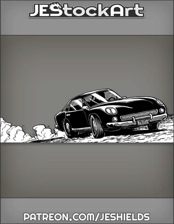 Dark Sports Car on a Dusty Road by Jeshields