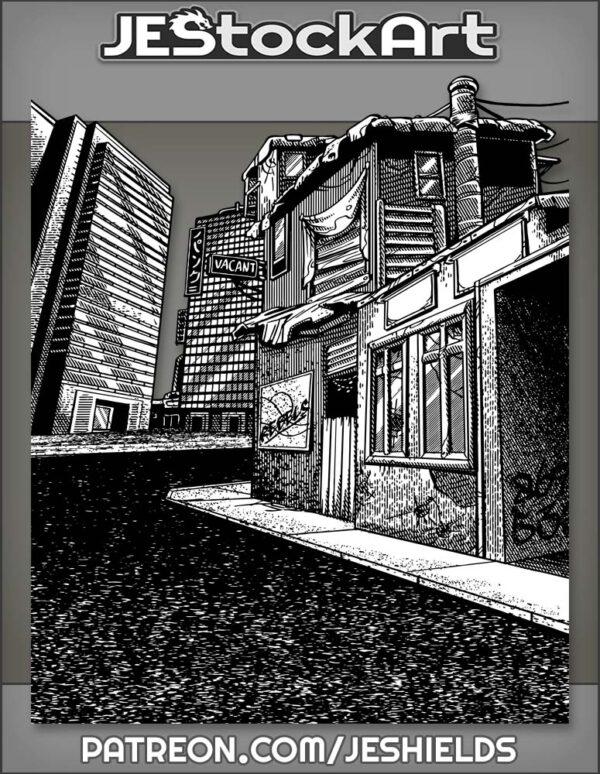 Cyberpunk City Slums with Vacancy by Jeshields