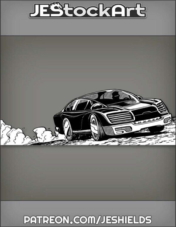 Dark Sports Car with Cyber Driver by Jeshields