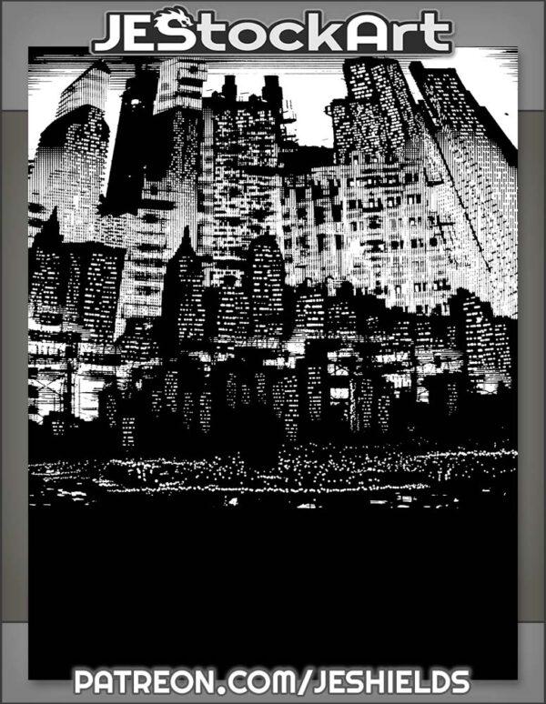 Tall Dark Cybperunk City at Night by Jeshields