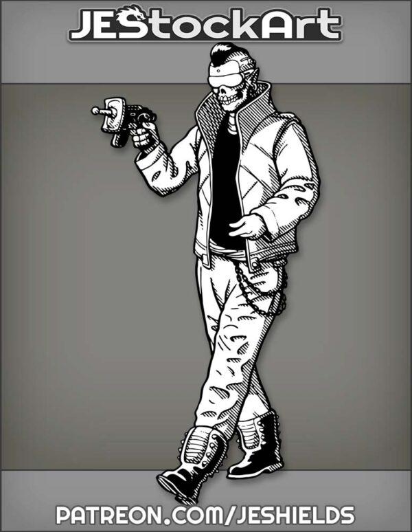 InvestigatorWithSkullFaceUsesCyberpunkTechForResearch by Jeshields