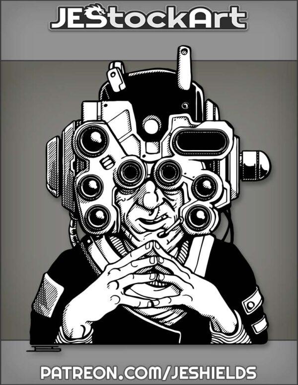 Scheming Villain with Large Tech Helmet by Jeshields