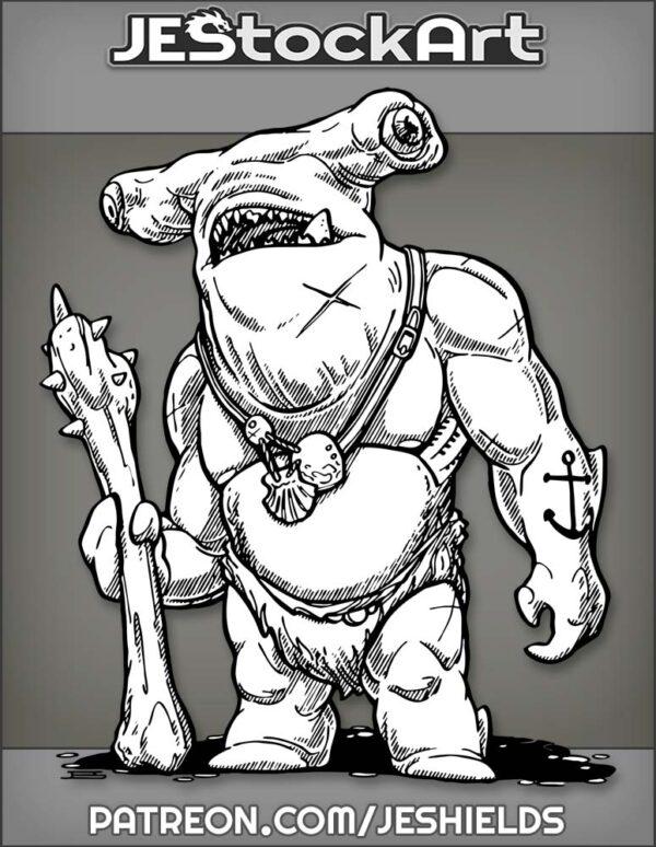 Humanoid Hammerhead Shark with Bone Club by Jeshields