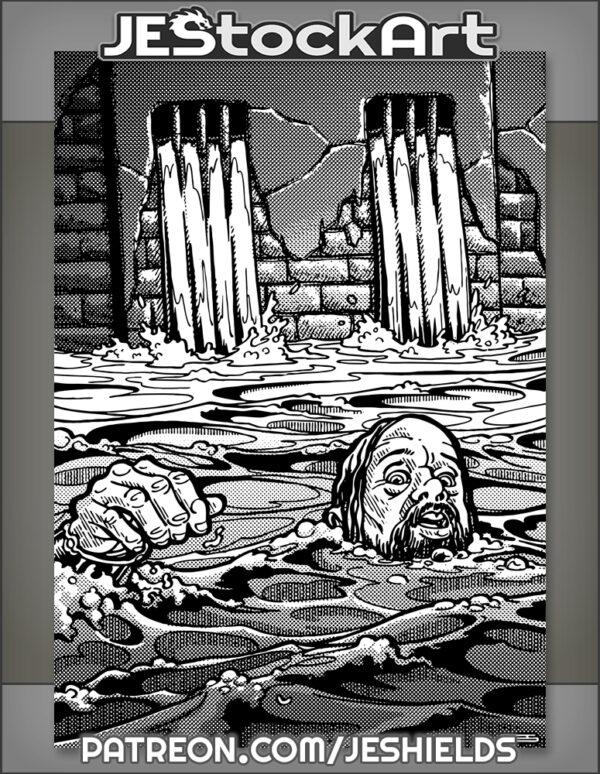 Man Struggles in Dungeon Flood Trap by Jeshields
