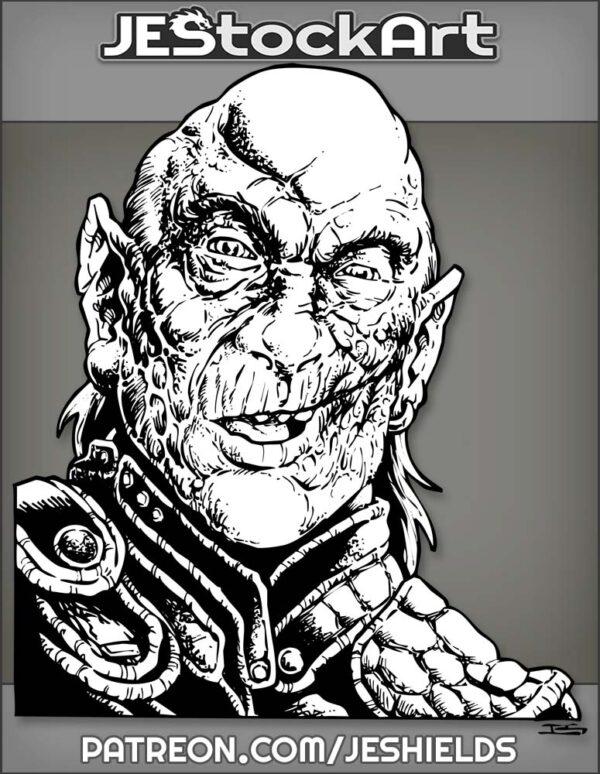 Scarred Balding Half Goblin in Leather by Jeshields