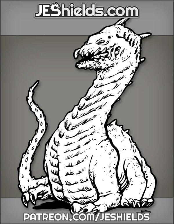 Wingless Studded Dragon with Six Legs by Jeshields